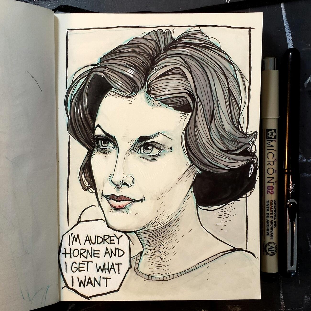 Sherilyn Fenn as Audrey Horne drawing