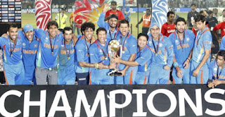 ICC Cricket World Cup 2011 Winner team India holding the trophy