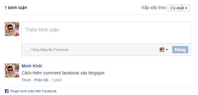 tích hợp comment facebook thành công