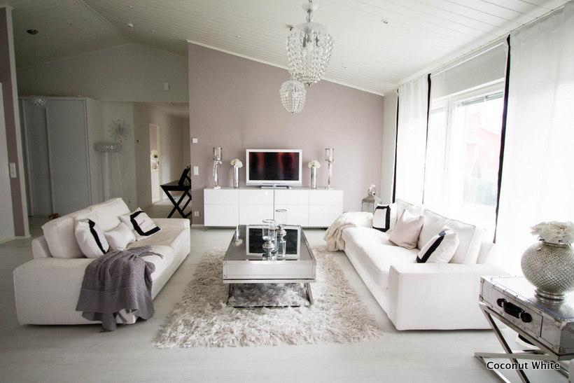 Mustavalkoinen olohuone kesäksi!  Coconut White