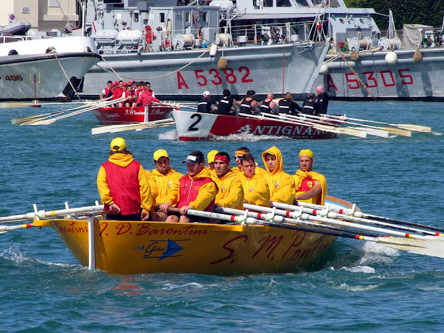 Venezia, San Marco Pontino, Antignano crews warming up for the Trofeo D'Alesio 2012, Livorno