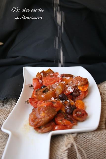 tomates asados , sal maldon