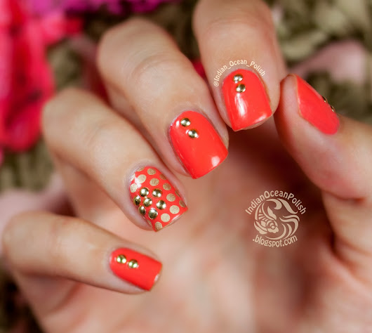 Studded Flower and Dot Nail Art