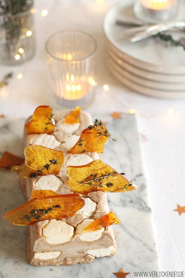 Maronenparfait Karamell Fleur de Sel Thymian Rezept Dessert