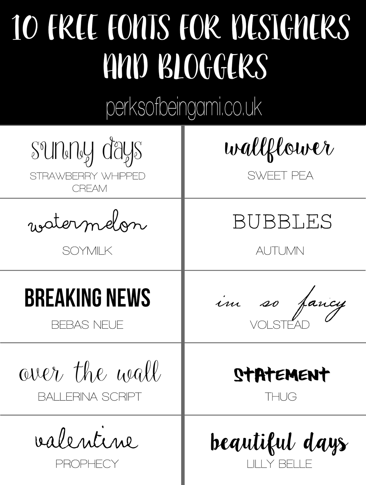10 FREE FONTS FOR DESIGNERS AND BLOGGERS