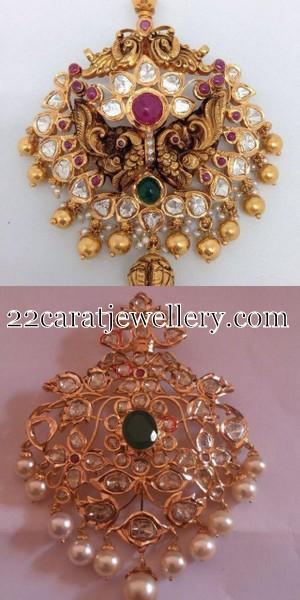 Uncut Diamond And Antique Pendants