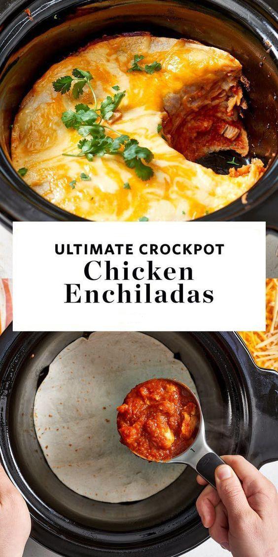 Ultimate Crockpot Chicken Enchiladas