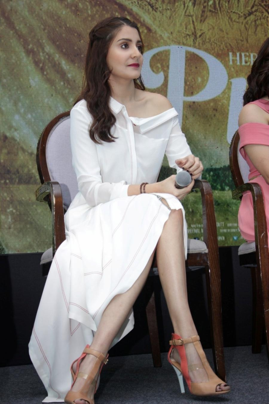 Anushka Sharma In White Dress At Mumbai Film Promotional Interview