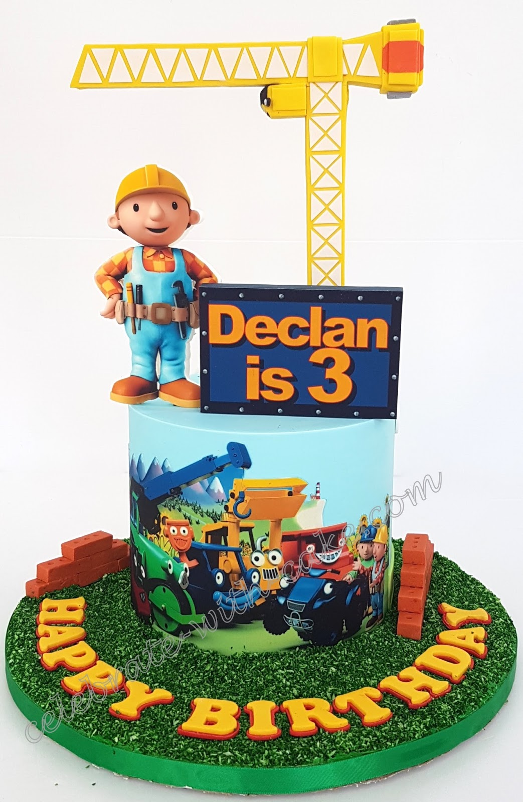 Marvelous Celebrate With Cake Bob The Builder Simple Cake Funny Birthday Cards Online Elaedamsfinfo