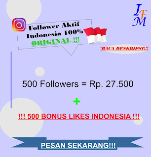 500 Follower Real Instagram Aktif 100% Akun Original Indonesia Murah