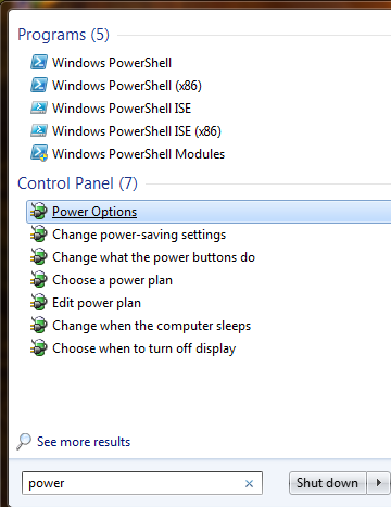 Power Options Windows 7