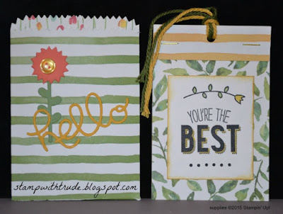 treat bag, pocket card, tag, Trude Thoman, http://trudethoman.stampinup.net , stamp with trude, Stampin Up, Friendly Wishes