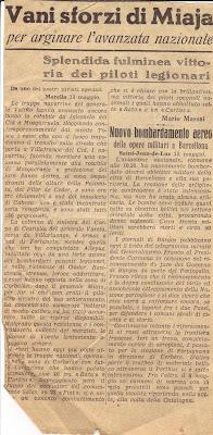 Recorte de prensa sobre la situación de la guerra civil española en 1938