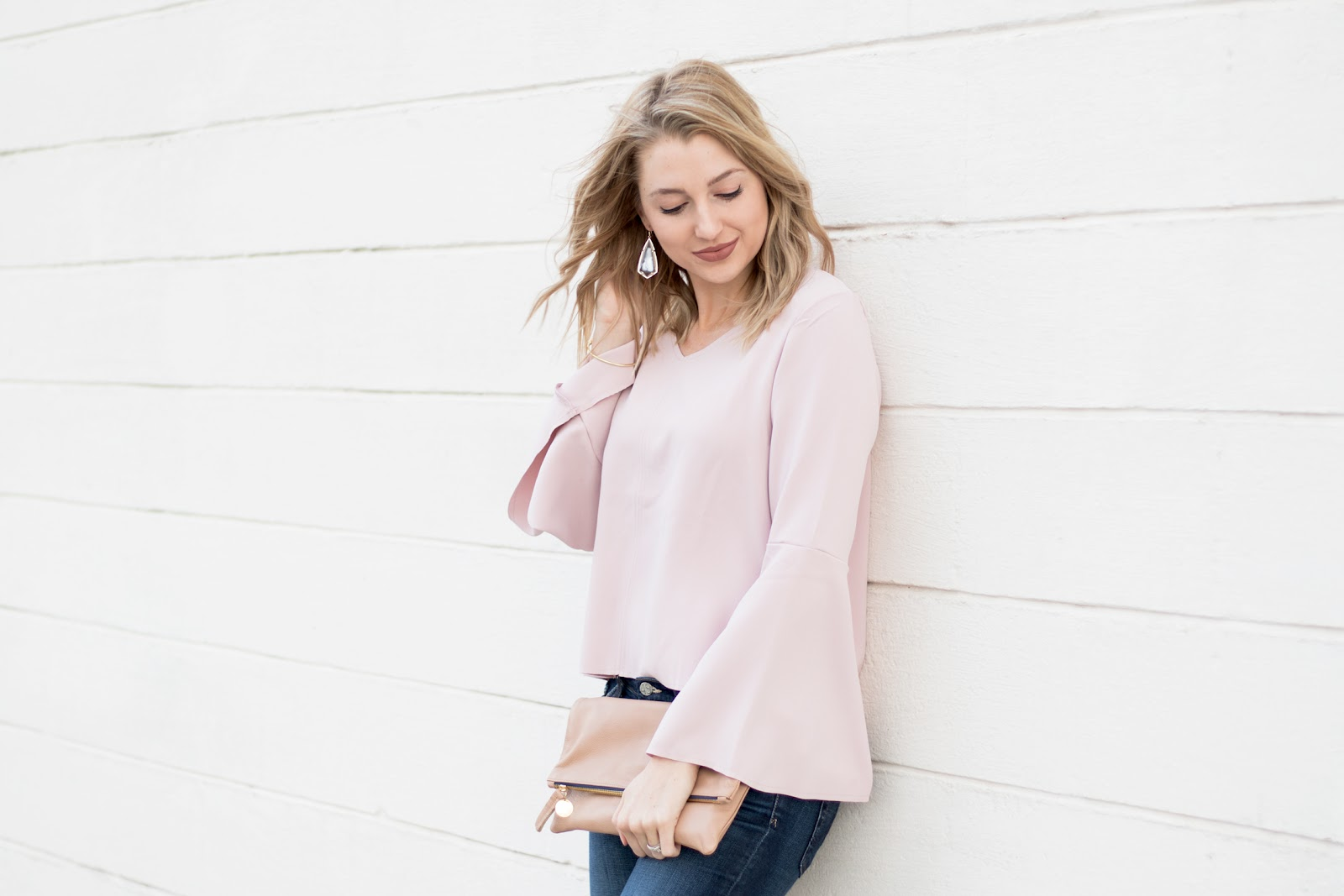 Pastel bell sleeve top