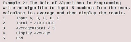The Role of Algorithms in Programming Example