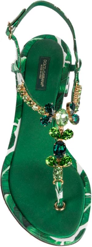 Dolce & Gabbana Banana Leaf Leather Block Heel T-Strap Sandals