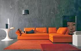 diseño sala naranja gris