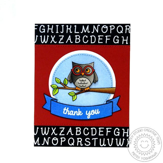 Sunny Studio: Owl Teacher Thank you Card by Mendi Yoshikawa (using Woo Hoo, Stars & Stripes, Sweet Script & Sunny Borders stamps,