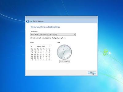 Memilih zona waktu, tanggal dan jam