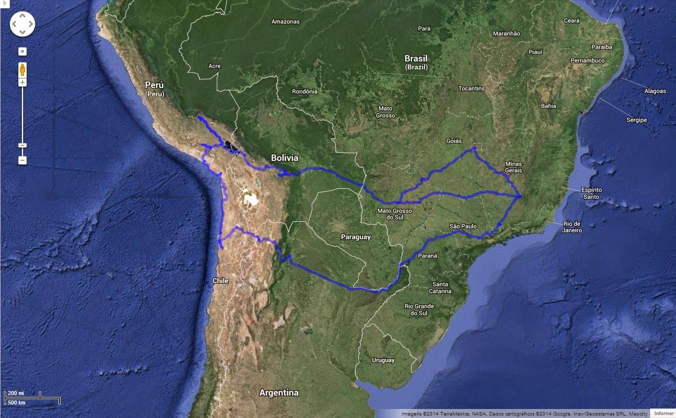 Trajeto executado da Expedição América do Sul - set/2013.