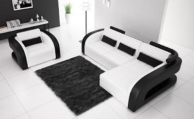 แบบห้องรับแขกสีขาว ดำ จัดที่นั่งสวยๆ