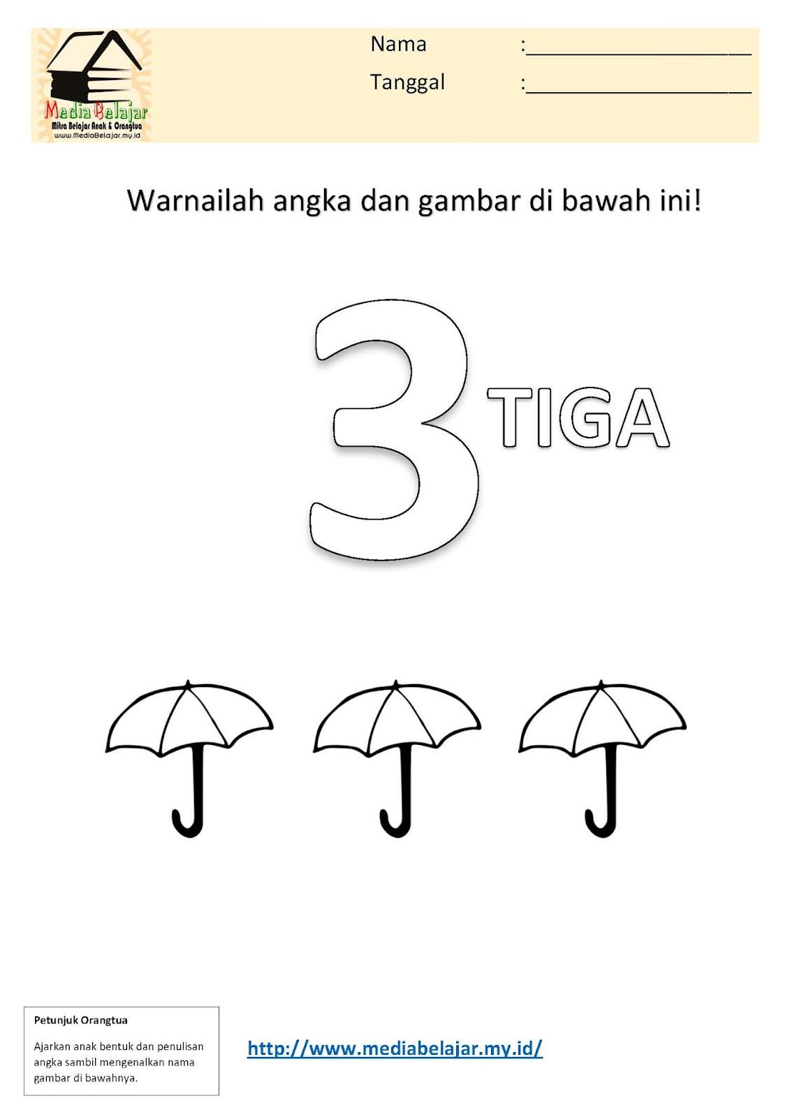 Dengan mengerjakan lembar kerja mewarnai angka 3 tiga dan mewarnai gambar payung ini diharapkan anak dapat melatih beberapa kemampuan dasar seperti