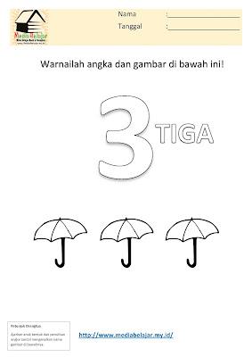 Mewarnai Angka 3 (tiga) dan Mewarnai Gambar Payung