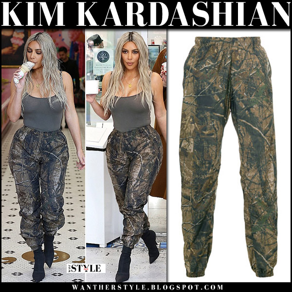 Kim Kardashian in khaki top and khaki green camouflage print pants yeezy street fashion january 12