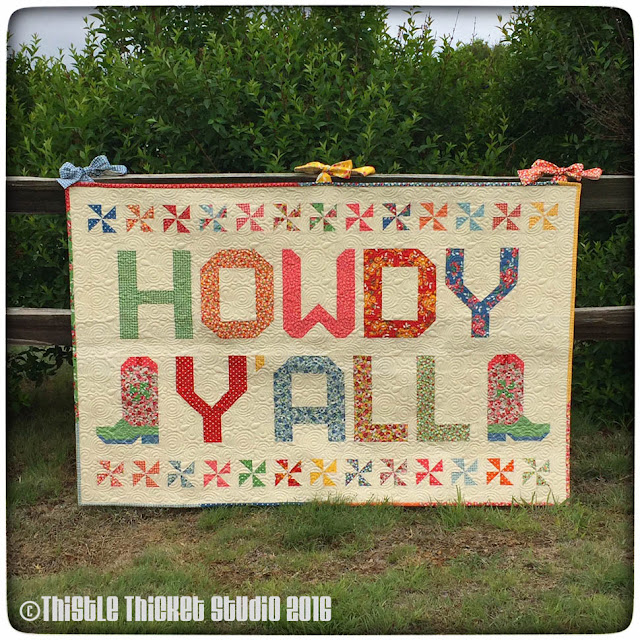 Howdy Y'all Quilt, Thistle Thicket Studio, Moda Bake Shop, cowboy boot block, quilts, quilting