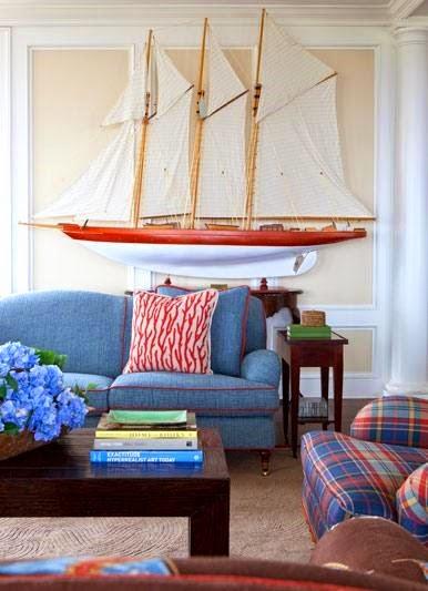 Nautical New England Style Living Room Decor Ideas  Coastal Decor Ideas Interior Design DIY