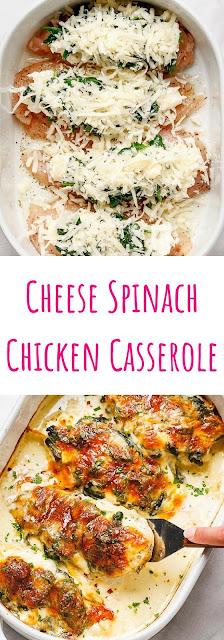 Spinach Chicken Casserole with Cream Cheese and Mozzarella Recipe
