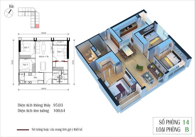 Thiết kế căn 14 tòa CT2 Eco Green City
