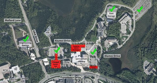 Map depicting available parking in the Engineering Garage, East Campus Central Lot, most of the Library Lot, the East Garage, and the East Lot.