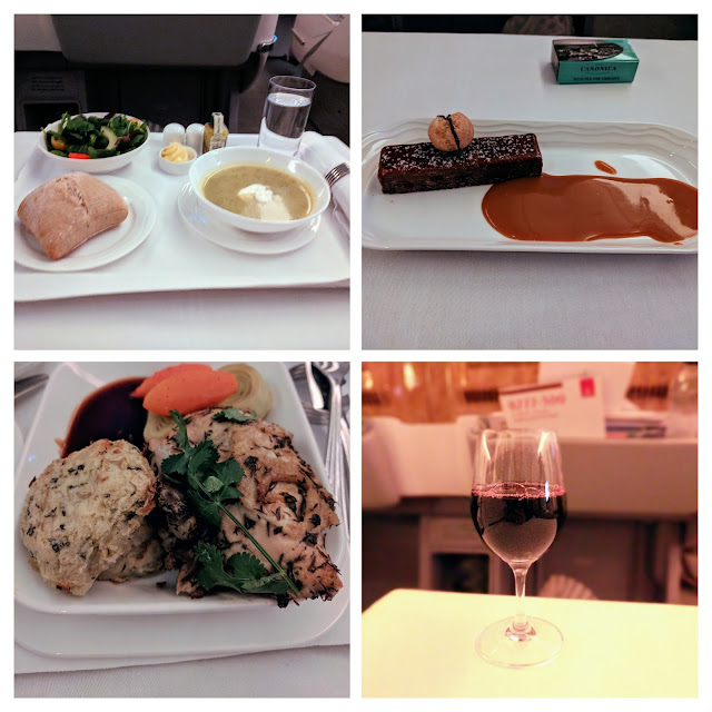 Collage of the dishes served on the Emirates Business Class 777 service