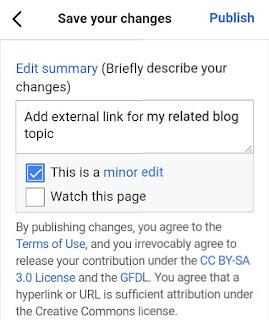 Wikipedia mei reason enter karke minor edit par mark kare