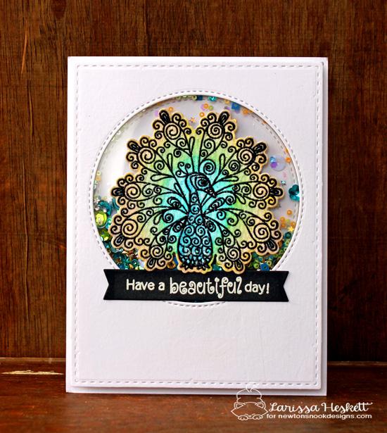 Peacock shaker card by Larissa Heskett | Beautiful Plumage Stamp set by Newton's Nook Designs #newtonsnook