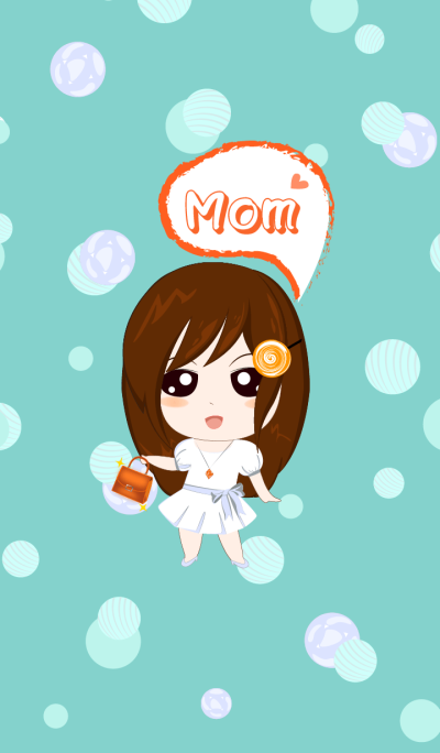 Mom's day - Elegant girl in white dress.
