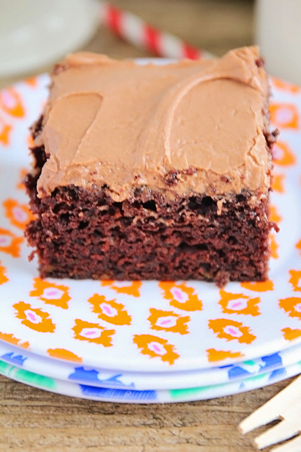 This chocolate zucchini cake is so rich and delicious, you would never guess there is over two cups of zucchini inside. The perfect way to use up all that summer zucchini!