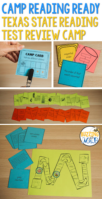 Are you planning a STAAR reading test prep camp for your students? This post is a must-read. It's full of ideas and resources for nine TEKS aligned stations. Review games and activities help students practice the skills they need to pass their test! Task cards and matching activities cover all the tested reading standards, and the teacher's tips will help you plan a fun camp-themed event! #staartestprepcamp #testprepcamp