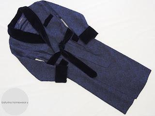 Morgenmantel Herren Exklusiv Barock Paisley Marineblau Blau Edel Elegant Lang Warm Gefüttert Luxus Baumwolle Seide Hausmantel Männer