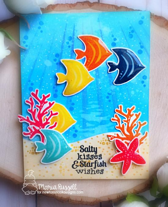 Salty Wishes Fish Card by Maria Russell | Tranquil Tides Stamp Set and Land Borders Die Set by Newton's Nook Designs #newtonsnook #handmade