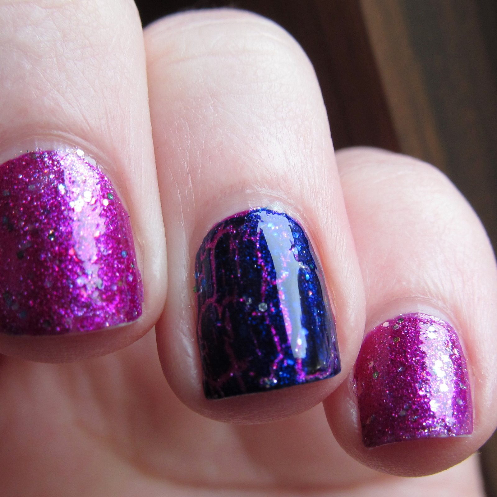 Kleancolor Metallic Fuchsia, China Glaze Full Spectrum & OPI Navy Shatter