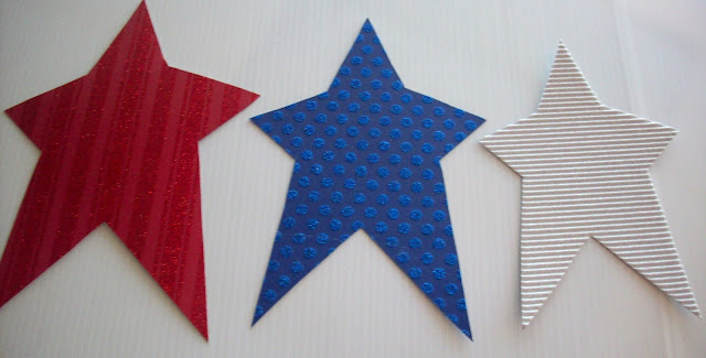 Red White and Blue Stars glitter paper