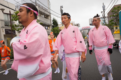 Men in pink yukata at the 60th Koenji Awa-Odori Parade, Tokyo, 2016.