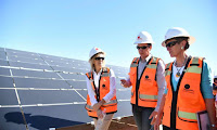 Secretary Jewell inspecting a solar energy facility. (Photo Credit: Tami Heilemann, Interior) Click to Enlarge.