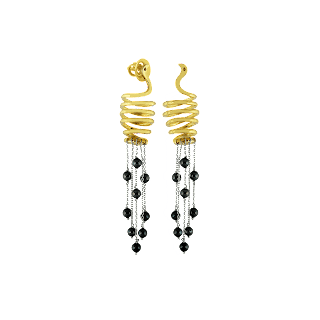Animal inspired earrings curated in sterling silver with a gold plated  finished and black-toned tassles by Izaara