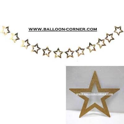 Glitter Star Garland Gold