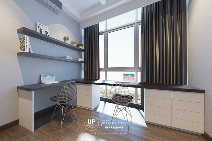 twins damansara heights condo study room with dark brown top and shelf with white cabinet