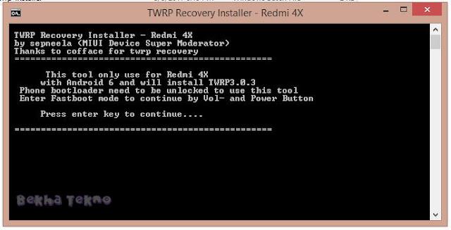 Cara Pasang/Instal TWRP Xiaomi Redmi 4X Santoni Dengan Mudah Menggunakan PC Pasti Berhasil