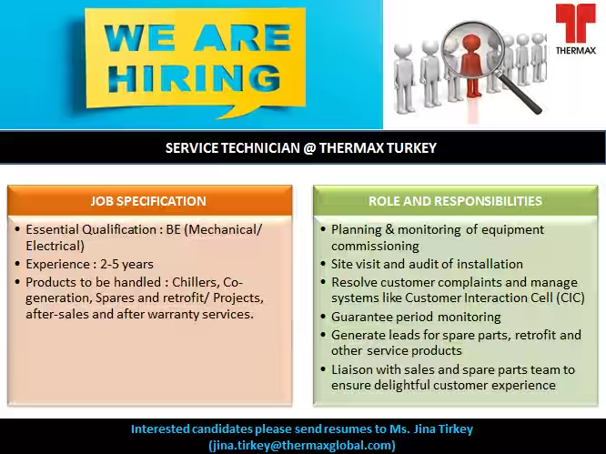 we are hiring in turkey interested candidates please send in your resume to ms jina jina tirkey thermaxglobal com